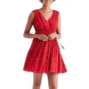 Madewell V-neck Red Floral Dress